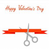 Scissors Cut Decorative Red Ribbon With Dash Line. Happy Valentines Day Card Flat Design Style.