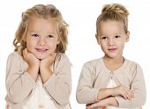 Portrait of beautiful little girls, studio on white background