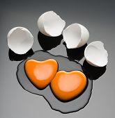 Broken egg and yolk.
