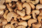Whole cashew nuts.