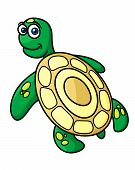 picture of green turtle  - Rear view of cute green sea turtle with yellow shell in cartoon style for mascot and logo design - JPG