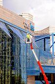 Cleaning ICC windows, Birmingham.