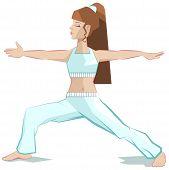 image of virabhadrasana  - Girl yoga - JPG