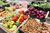 image of crate  - Green market with crates full with fresh fruits and vegetables - JPG