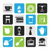 Silhouette Café and coffeehouse icons