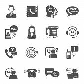 pic of telephone operator  - Contact us 24h support global worldwide information service black  icons set with  helpdesk operator vector isolated illustration - JPG