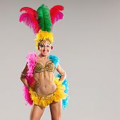 picture of samba  - Samba dancer in traditional carnival stage costume - JPG