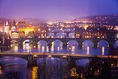 Vltava (Moldau) River at Prague with Charles Bridge at dusk, Czech Republic