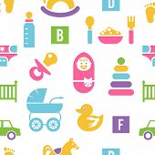 Newborn and toys background