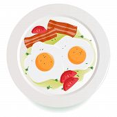 Bacon, eggs and tomato dish