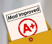 Most Improved words on a report card with grade or score A+ to illustrate a student or employee who has increased results and made great strides in better performance