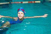School Girl Swims In The Sports Pool