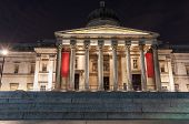 The National Gallery Entrance In London At Night
