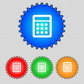 Calculator Sign Icon. Bookkeeping Symbol. Set Colour Buttons. Vector