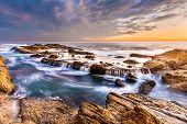 beautiful southern California seascape in sunset, USA