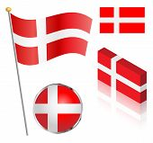 image of flag pole  - Danish flag on a pole badge and isometric designs vector illustration - JPG