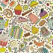 image of teapot  - Cute seamless pattern with sweets and desserts - JPG