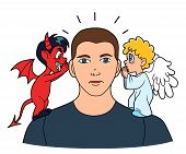 pic of demons  - Man listening good and bad advices from his small angel and demon - JPG