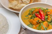 Indian Green Curry With Basmati Rice And Papadums