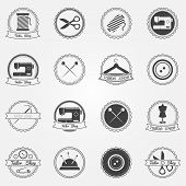 Tailor shop vector elements and badges