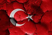 Flag Of Turkey Painted On Cracked Wall