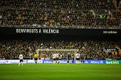 VALENCIA, SPAIN - JANUARY 4: Before a corner kick during Spanish League match between Valencia CF and Real Madrid at Mestalla Stadium on January 4, 2015 in Valencia, Spain