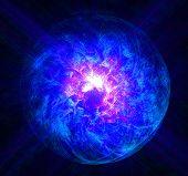 Magic ball burning blue flame