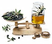 Balance Scale Fresh Of Olives And Olive Oil