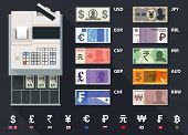 Cash register currencies