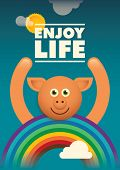 Poster with comic pig. Vector illustration.