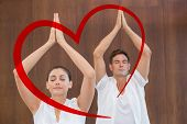 picture of peaceful  - Peaceful couple in white doing yoga together with hands raised against heart - JPG