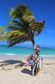 Unidentified beach vendor at Bavaro beach in Punta Cana