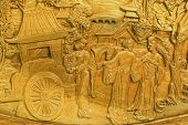 image of handicrafts  - carved detail of Chinese table handicraft background - JPG