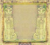 Stylized Egyptian Cats - Grunge Frame