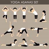 Yoga Asanas Set.