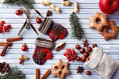picture of hazelnut tree  - Sprigs of Christmas tree with cookies - JPG