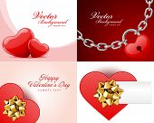 Set Happy Valentine's Day greetings cards vector background design. Valentine's day wishes, hearts, love symbols, bokeh light and gifts.