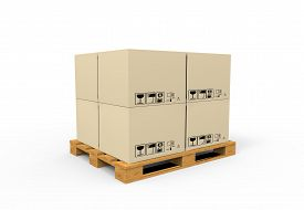 picture of fragile sign  - Closed carton delivery packaging box with fragile signs on wooden pallet - JPG