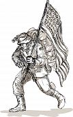 American soldier battle gear flag