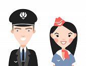 stock photo of flight attendant  - The pilot and flight attendants vector set - JPG