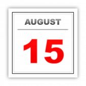 stock photo of august calendar  - August 15 - JPG