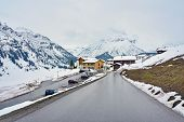 stock photo of chalet  - Look above the Lech ski resort part of the Arlberg Lech - JPG