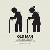pic of elderly  - Two Elders With Walking Sticks - JPG