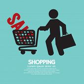 picture of cart  - Shopper With Shopping Cart Black Symbol Vector Illustration - JPG