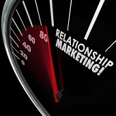 stock photo of loyalty  - Relationship Marketing words on speedometer to illustrate increasing customer loyalty for your company or business - JPG
