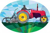 image of oval  - Low polygon style illustration of a farmer driving riding vintage tractor plowing field viewed from the side set inside an oval - JPG