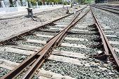 stock photo of train track  - Train tracks - JPG