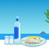 picture of ouzo  - A bottle of ouzo and a dish with cooked fish in a table next to the sea - JPG