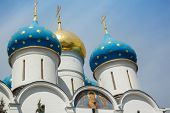 foto of trinity  - Closeup of the cupolas of Dormition Cathedral in the Trinity Lavra of St - JPG