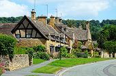 picture of broadway  - Pretty cottages along High Street Broadway Cotswolds Worcestershire England UK Western Europe - JPG
